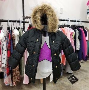 Size 4. Girls Faux Fur Hood Puffer.